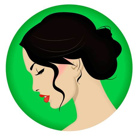 Beautiful woman with retro hairstyle and nice makeup.Beauty and style vector icon.