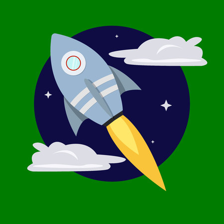 Cartoon rocket on space background, vector illustration. Simple flying spaceship drawing, vector sign, icon, emblem