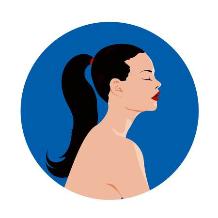 A Vector illustration of a cute girl profile with a pony tail. Illustration
