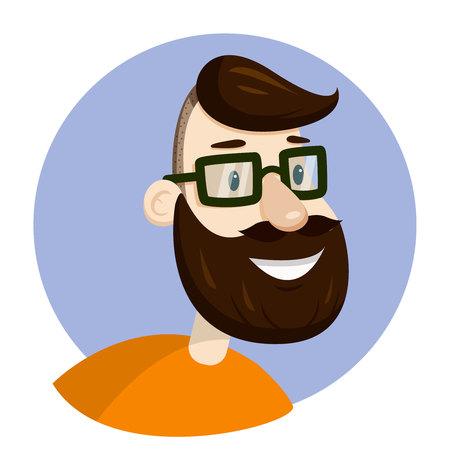 Vector hipster man bearded face in eyeglasses, veotr portrait illustration, icon or sign