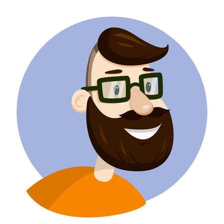 Vector hipster man bearded face in eyeglasses, veotr portrait illustration, icon or sign