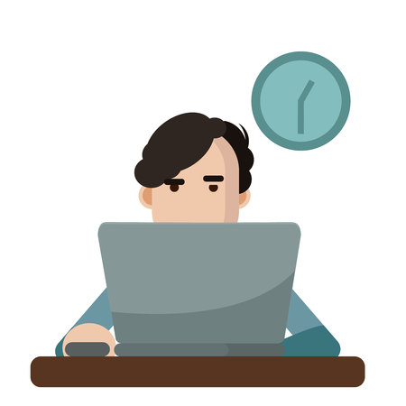 Vector illustration of a man using a laptop.