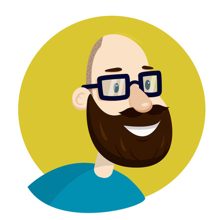 Man with glasses and beard . Bald man.Vector illustration. Flat