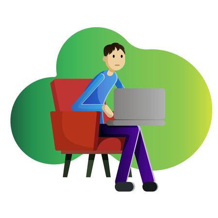 Mens die freelancer met laptop in leunstoel werkt.