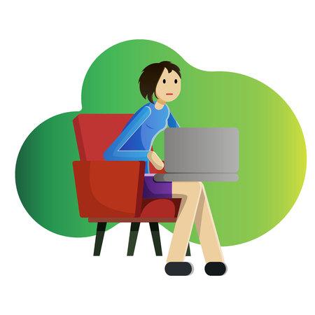 Meisje die freelancer met laptop in leunstoel werken.