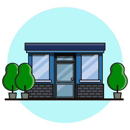 Cafe building. Flat style, vector illustration.