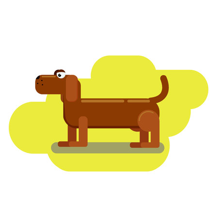 Long dachshund character vector sign or banner.