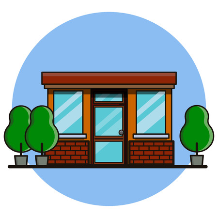 Cafe or shop building in flat style, vector illustration.