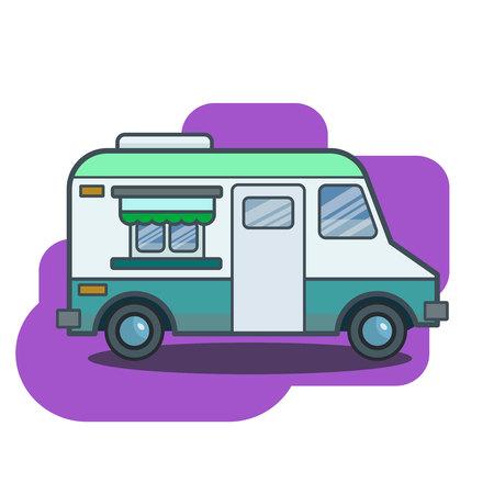 Cute retro food truck illustration in flat cartoon vector style. Little blue green fast food restaurant van. Sign, banner or icon Illustration