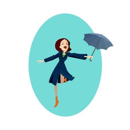 Lady in blue coat Girl under red umbrella in the rain