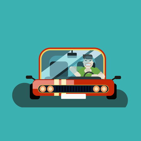 Angry man driver in the car Stock Vector - 94571115