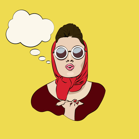 Sexy retro glamourous girl in sunglasses and headscarf blowing a kiss, vector ads, promo banner, poster, sticker, illustration with speechbubble