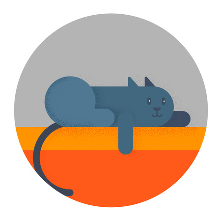 Funny gray cat lays on the shelf. flat vector illustration isolate on a background in cartoon style. easy to use  イラスト・ベクター素材