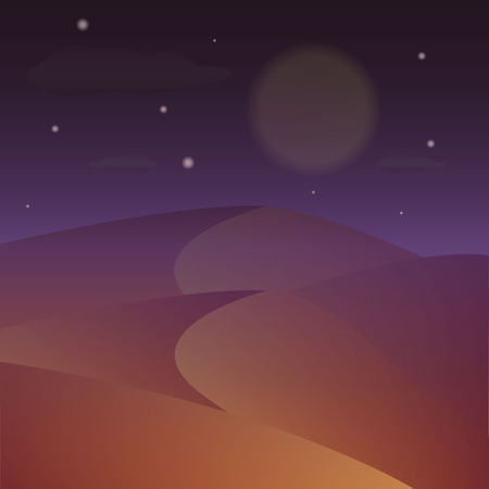 Desert night. Vector starry night on the desert. Night landscape