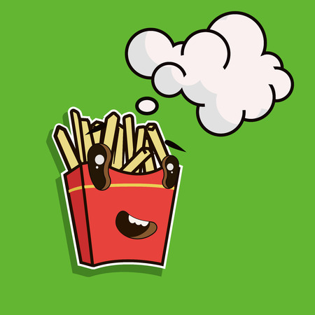 Funny cartoon french fries with speech bubble