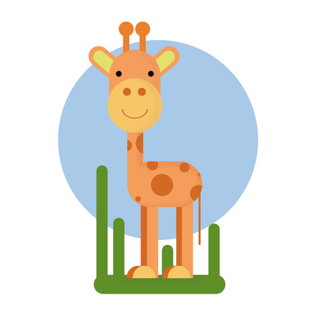Cartoon giraffe character. Vector illustration isolated
