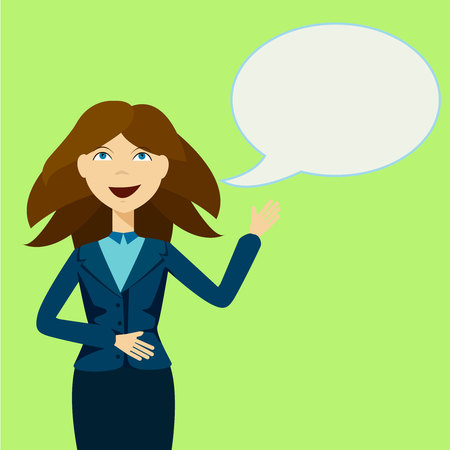 Girl With Announcement And Speech Bubble, Commercial, Promotion, Event, Ad, Marketing, Announcer Vectores