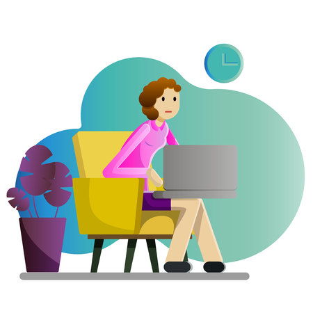 Girl freelancer with laptop vector illustration