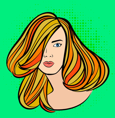 Long hairstyle girl vector banner for beauty salon. Vector illustration on green background.