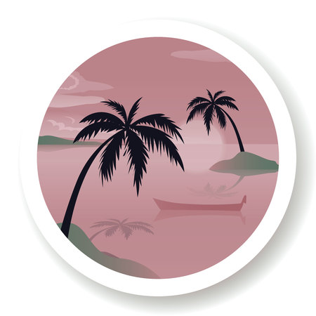 Tropical sea landscape, black silhouettes islands with palm trees , clouds, sky with clouds, sun and wooden boat. Vector travel sign or banner