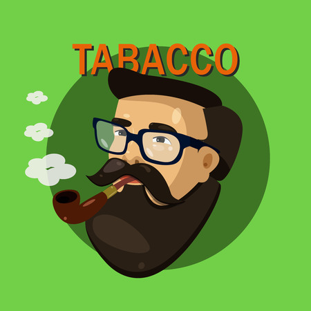 Vector portrait of bearded man hipster in glasses with pipe side-view. Tabacco sign, ads, promo, banner, concepts or print for T-shirt Illustration
