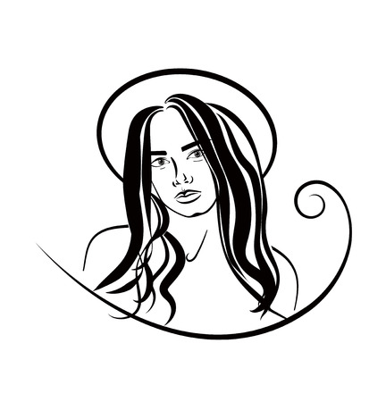 Beautiful woman face in hat in cotour, vector hairstyle promo banner Illustration