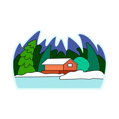 Vector illustration of a snow-covered village. in the winter forest