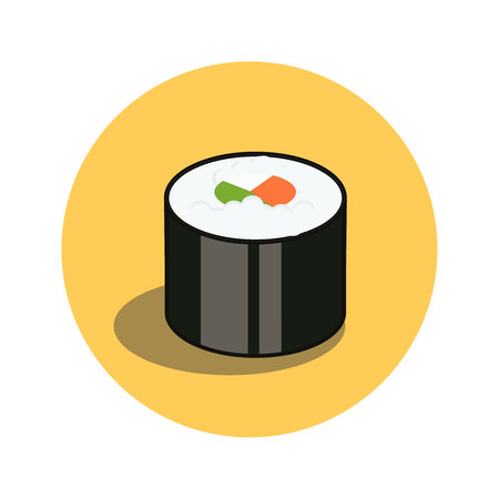 Sushi roll. Japanese traditional food icon with salmon fish fillets and filled cream cheese. Isolated vector illustration, banner for menu