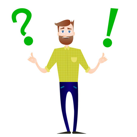 A Vector illustration of cartoon businessman with big question mark and exclamation point. Vettoriali