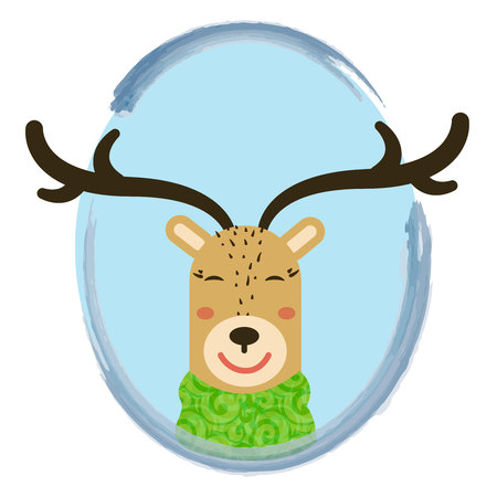 illustration of cute cartoon deer into circle frame