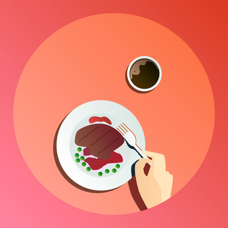 Vector flat illustration catering party with people hands and a plate with dishes from the menu, top view Иллюстрация