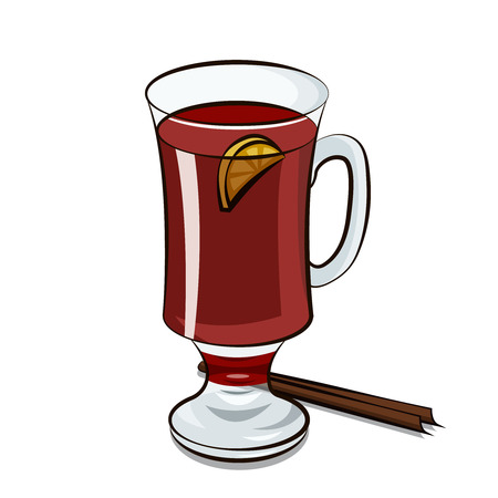 Mulled wine with lemon and cinnamon in cartoon illustration.