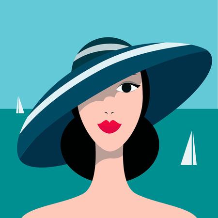 Portrait of pretty girl on sea background.