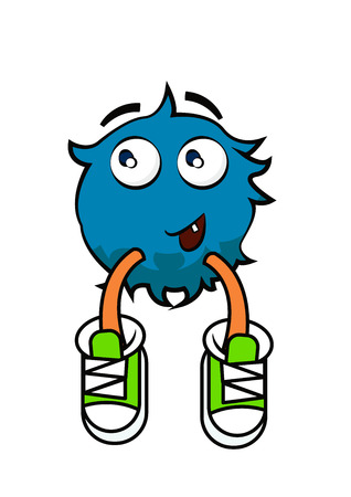 Vector flat illustration of monster. Isolated on white background. Element for design. Cartoon. For kids. Funny.