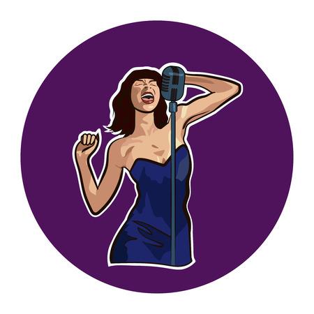Female singer in karaoke, jazz or blues club live music concert poster