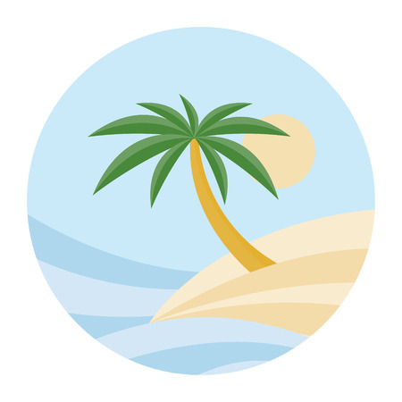 BEACH THEME. vector illustration of the wave, tropical island palm trees and the sun.