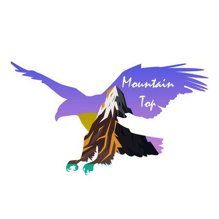 Mountain top with silhouette of an eagle Ilustração