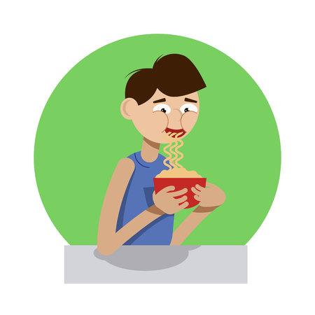 Boy slurping noodles from the cup illustration Ilustração