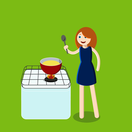 Woman in kitchen. Cook.