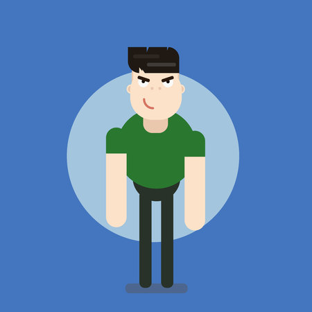 The man with the muscles. Sexy muscular jock in jeans. Posing bodybuilding. Isolated vector illustration Illustration