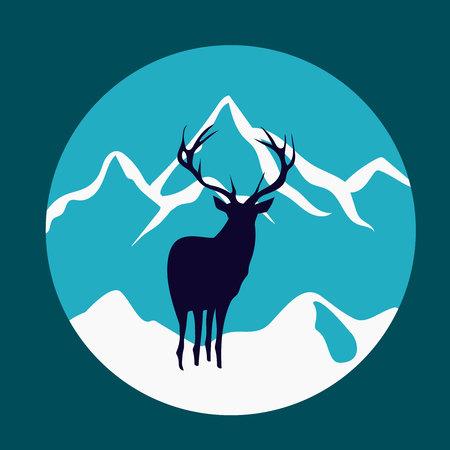 Wild deer in the mountains. Rustic vector badge emblem. Ilustração