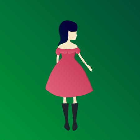 paper cut girl in dress vector craft design illustration
