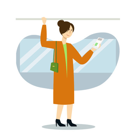 Woman character using smartphone in public transport, subway or bus. Vector flat cartoon illustration
