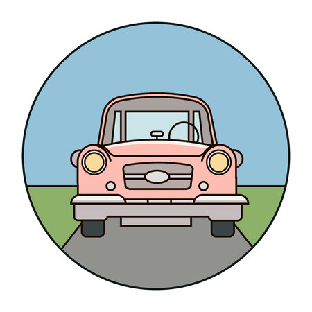 Red car on the road, vehicle driving in the city vector illustration