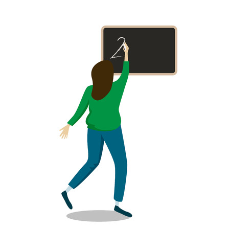 day of the teacher, the student writes the message to the teacher on the blackboard with chalk, vector