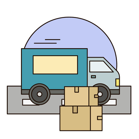 White delivery van with shadow and cardboard boxes on city background. Fast service truck