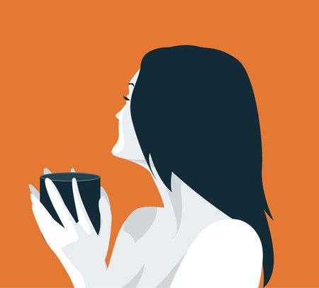 Portrait Of Beautiful Woman Holding Cup With Hot Beverage Vector Illustration Ilustração