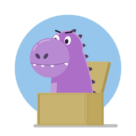 Funny purple dinosaur jumped out of the box. Vector illustration.