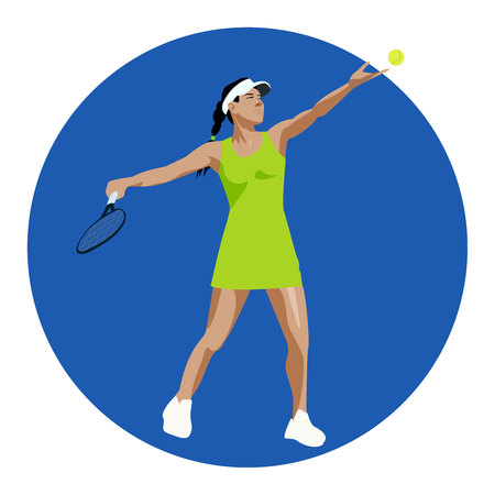 vector tennis player girl Ilustração