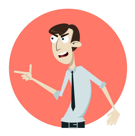 Dissatisfied and displeased business man sangry face swearing shouting words. Flat style vector illustration isolated on white background.